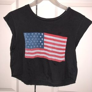 Brandy Melville Alien US flag cropped tee